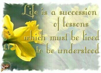 life is a succession of lessons which must be lived to be undertood