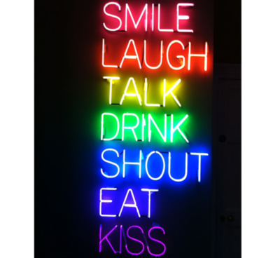 Smile Laugh Talk Drink Shout Eat Kiss