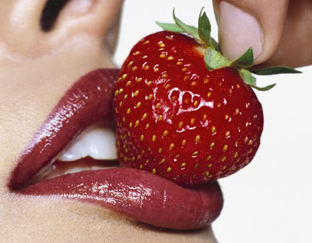 Sexy lips with strawberry