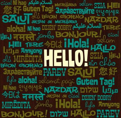 Hello Bonjour Salut Guten Tag