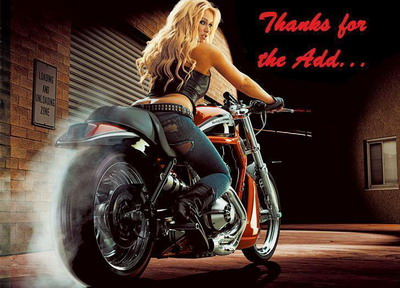 Thanks For The Add Blonde Girl Motorbike