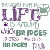 The Hardest Thing In Life Is Knowing Which Bridges To Cross And Which Bridges To Burn