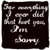For Everything I Ever Did That Hurt You, I'M SORRY