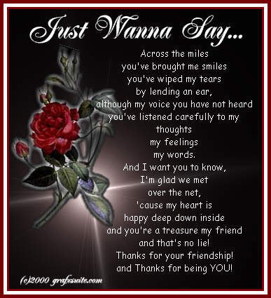 Thanks For Your Friendship And Thanks For Being You
