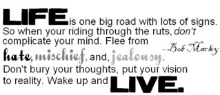 Life Is One Big Road With Lots Of Signs. So When Your Riding Through The Ruts, Don't Complicated Your Mind. Flee From Hate , Mis