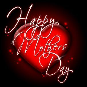 Happy Mothers Day, Red Heart, White Text