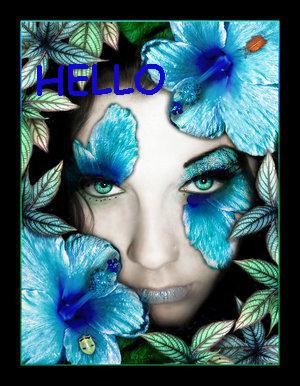 Hello, Girl, Blue Flowers