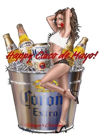 Happy Cinco De Mayo a Girl and a Bucket Of Corona Extra Beer