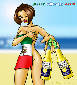 Feliz Cinco De Mayo Girl With Corona Extra Beer