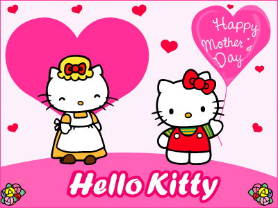 Happy Mother's Day , Hello Kitty , Pink Hearts
