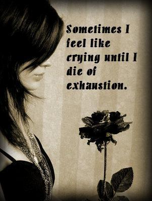 sometimes i feel like crying until i die of exhaustion