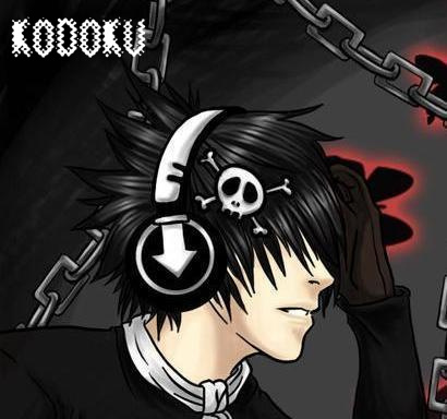 cool emo boys cartoon. emo guy listening music
