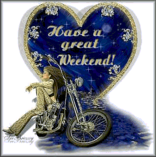Have A Great Weekend, gold text, blue heart
