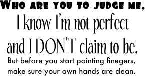 who are you to judge me, i know i'm not perfect and i don't claim to be