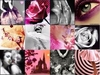 girly collage, pink, black