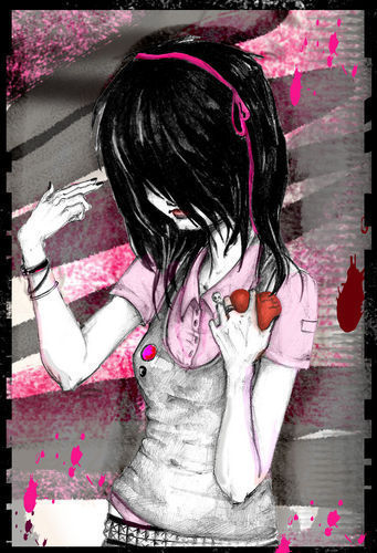 EMO GIRL, PINK, BLACK BACKGROUND