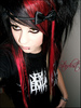 EMO GIRL, BLACK , RED HAIRS