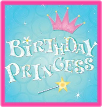 birthday princess, pink, blue background