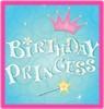 birthday princess, pink, blue background