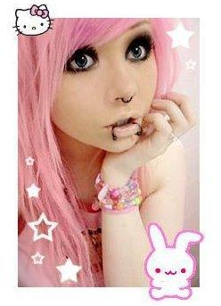 emo girl pink hairs