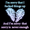 I'm sorry that i **** things up, and I'm sorry that sorry is never enough