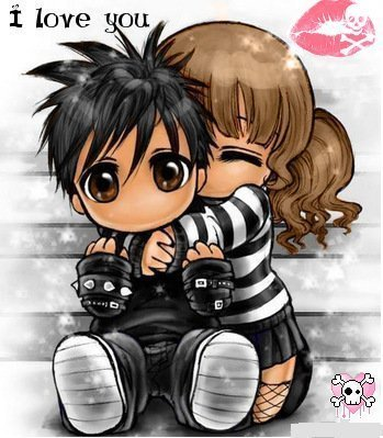 emo cartoons in love. emo love