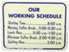 Working schedule