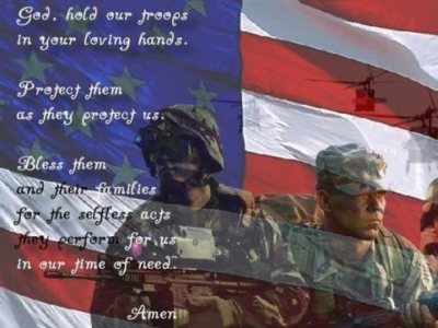 God, hold our troops in your loving hands