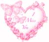 I miss you, pink heart, butterflies