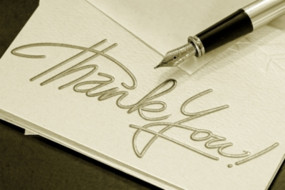 thank you! white paper and pen