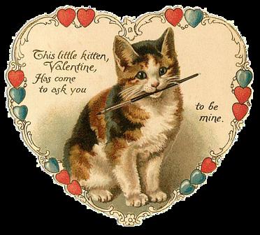 Vintage Valentine with kitten