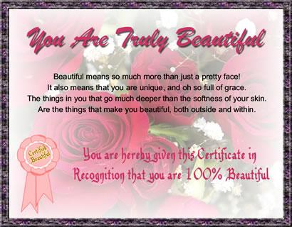100% Beautiful Certificate